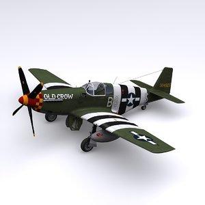 p-51 mustang fighter p-51c 3d model