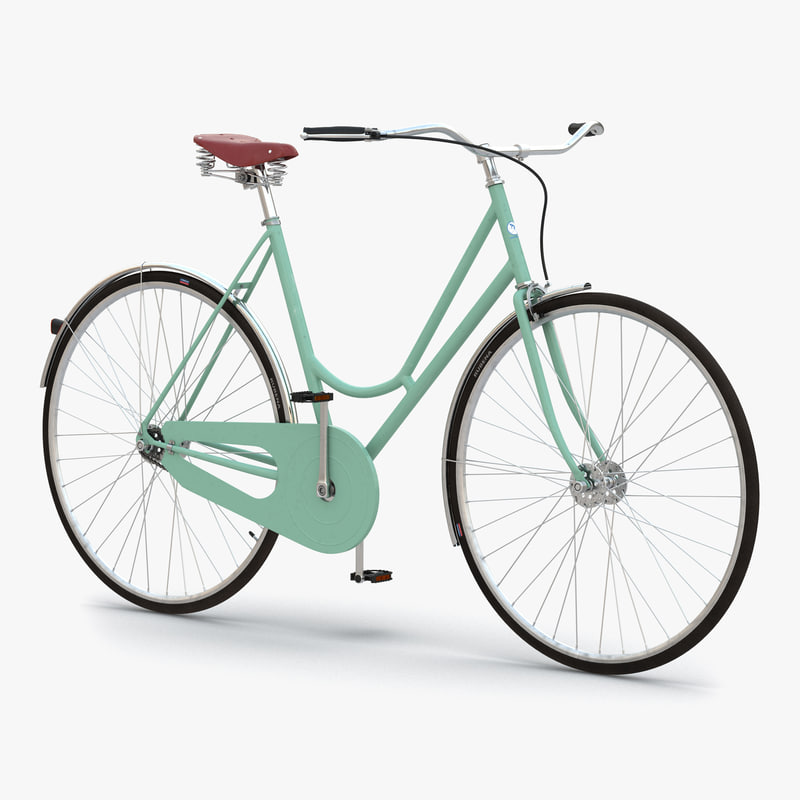 3d model of city bike green