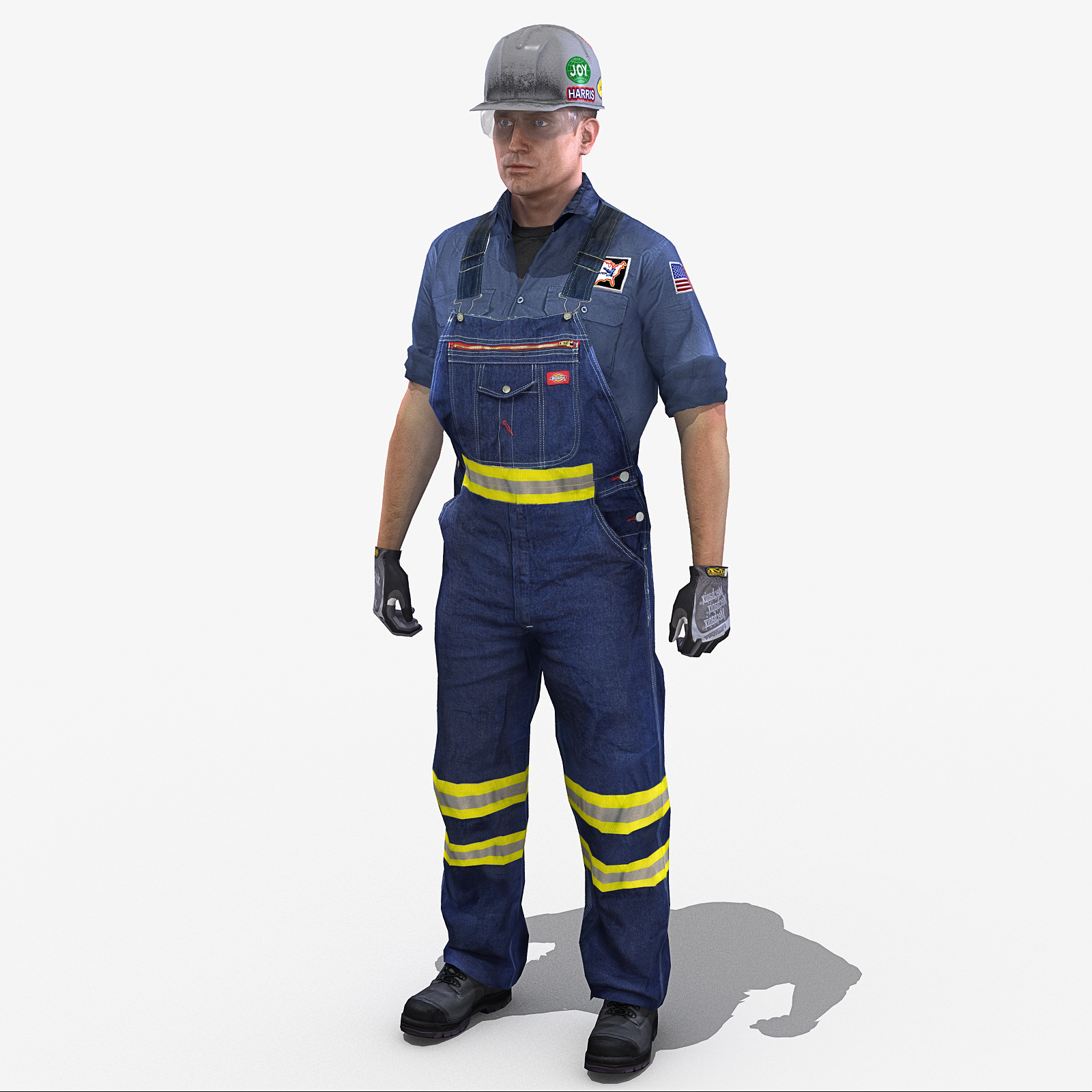 rig safety worker american 3d max