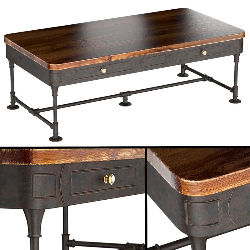 3d model post rustic iron 2-drawer