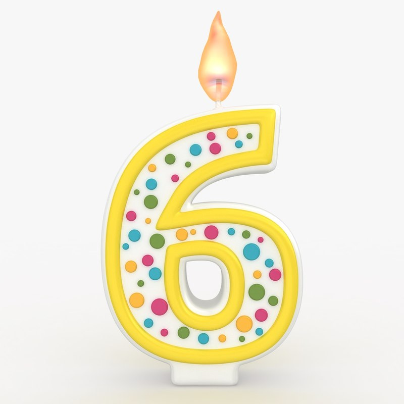 realistic number candle 6 3d model