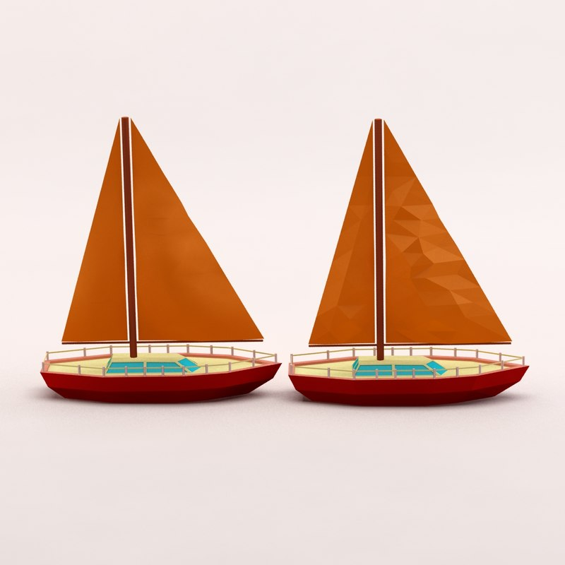 3d cartoon sailing yacht