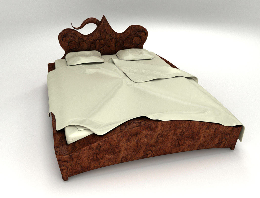 3d model bed design wood