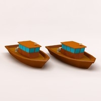 c4d cartoon fishing boat