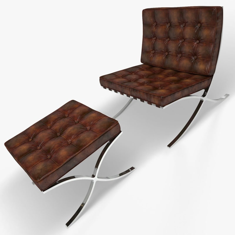 3d model of barcelona chair stool