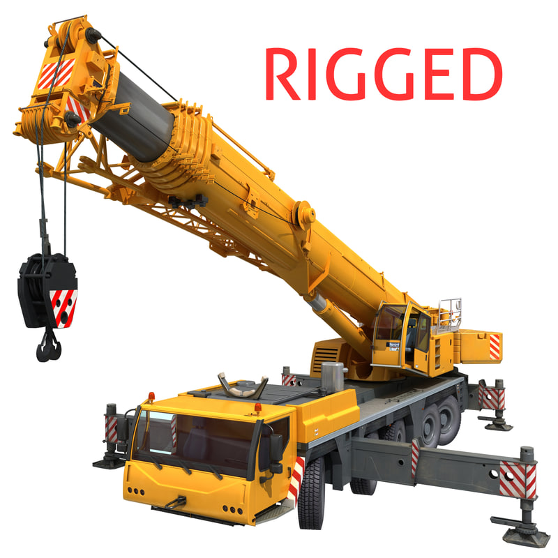 Mobile Crane Rigging : Mobile crane liebherr rigging d model