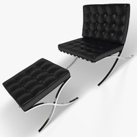 Barcelona Chair and Stool (black leather)
