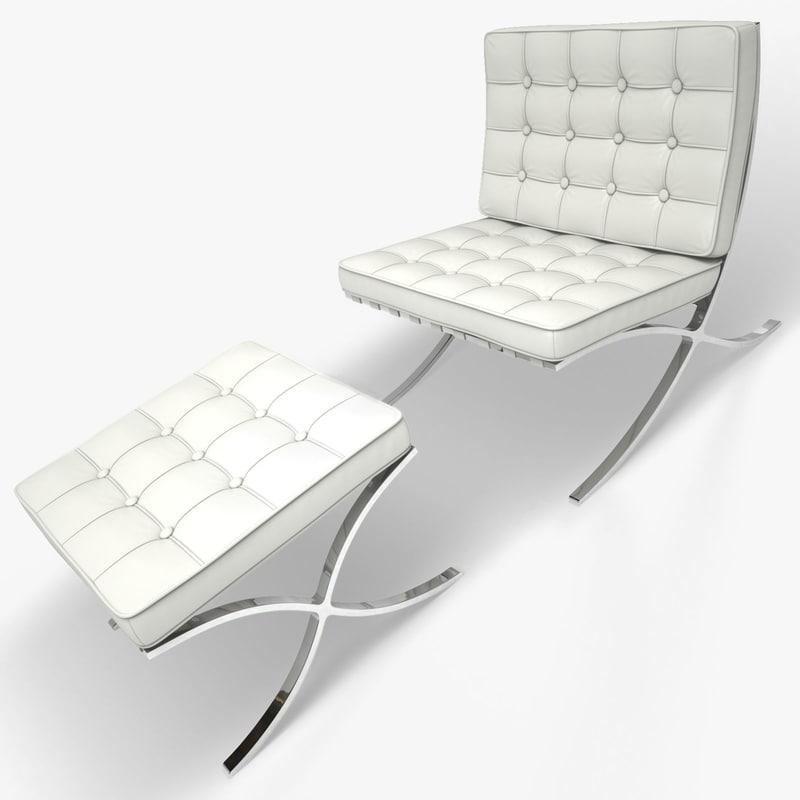 3d barcelona chair stool