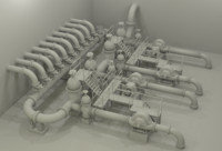 industrial pipes - water pumping station