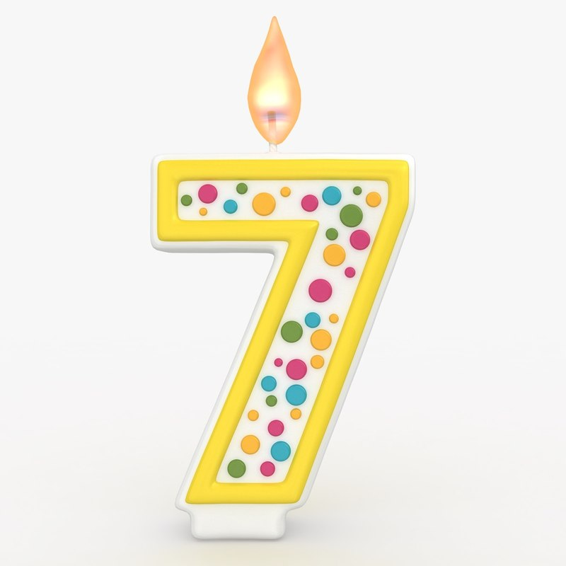 3d model of realistic number candle 7