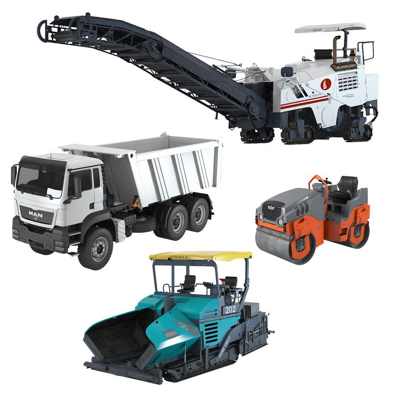3d asphalt pavement construction equipment model