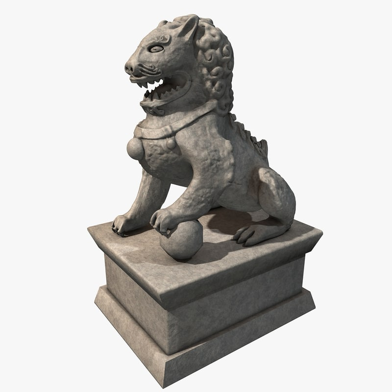 chinese stone lion 3d model
