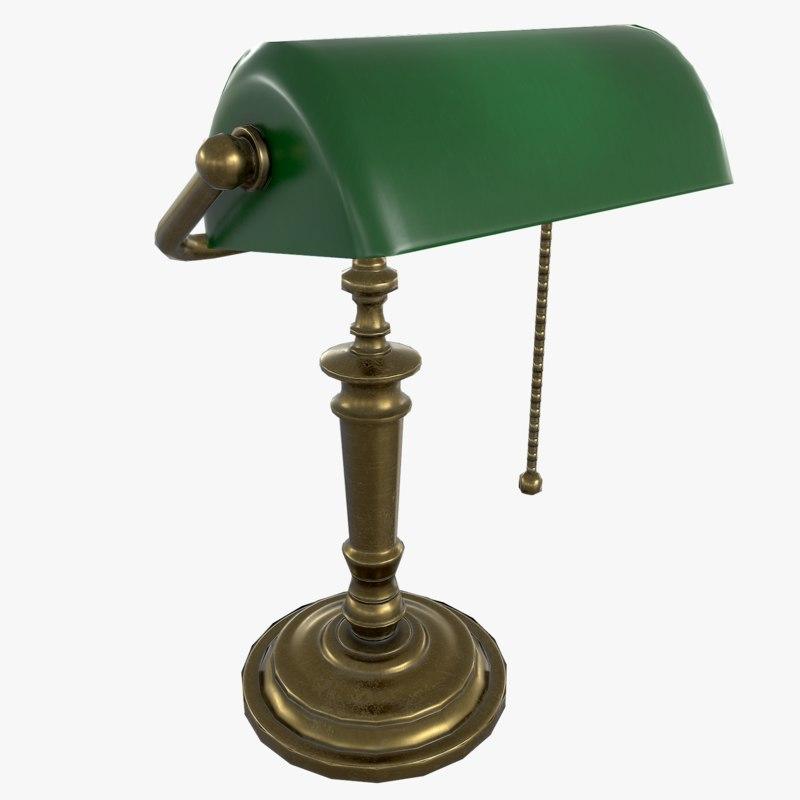 banker s lamp 3d max