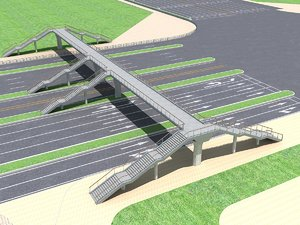 3d pedestrian bridge foot footbridge model