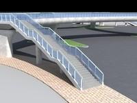 pedestrian bridge foot 3d max