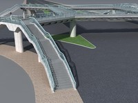 3dsmax pedestrian bridge foot footbridge