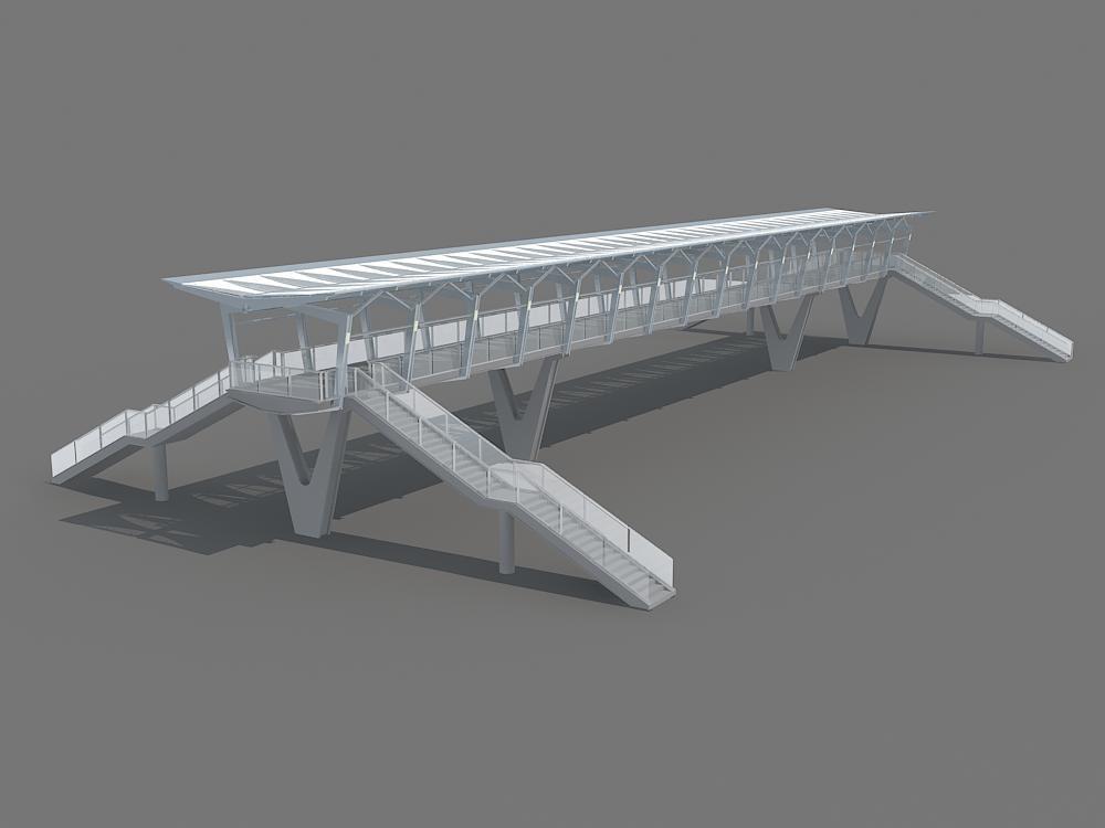 pedestrian bridge foot footbridge 3d model