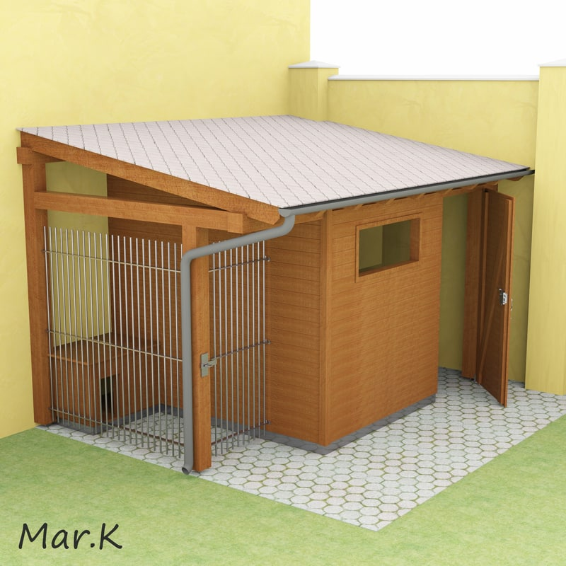 wooden shed dog kennel 3d 3ds