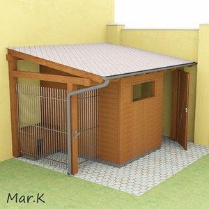 wooden shed dog kennel 3d 3ds