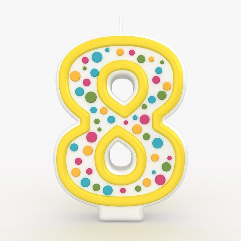 3d model realistic number candles 8