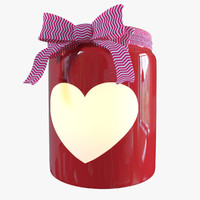 Red Valentines Day Heart Jar