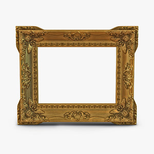 3d model baroque picture frame 2