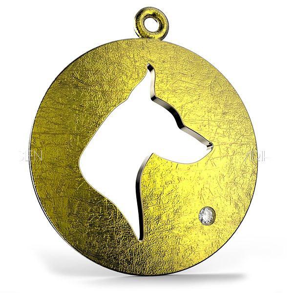 3d model domed dog pendant