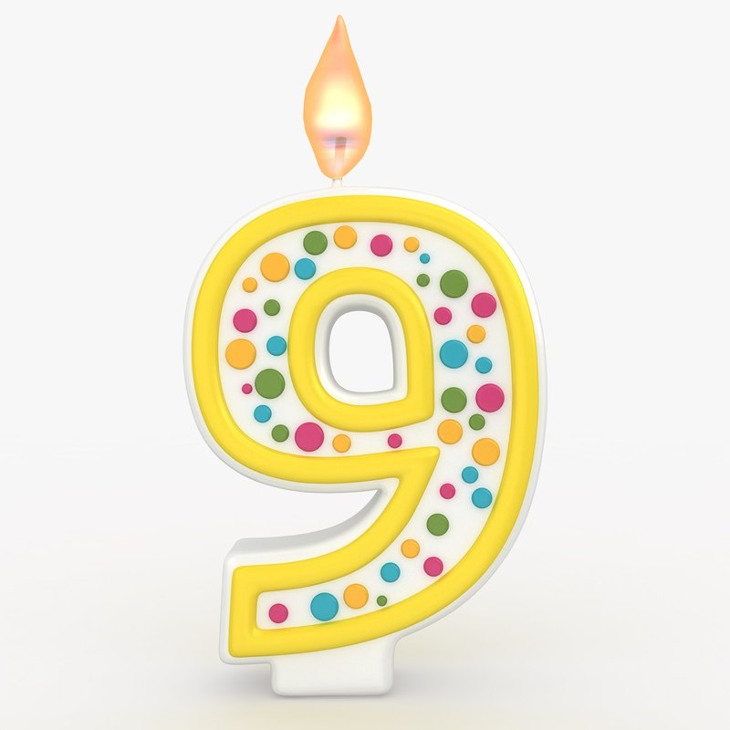3d realistic number candle 9