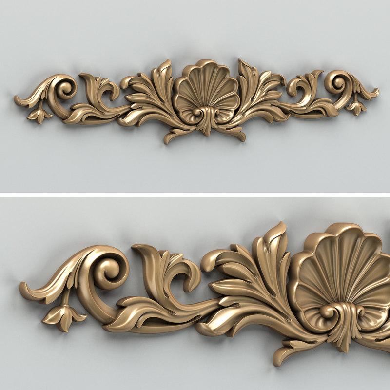 3d model of carved horizontal decor