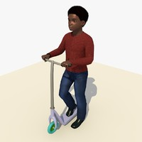 african boy riding scooter 3d c4d