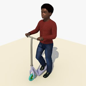 african boy riding scooter c4d