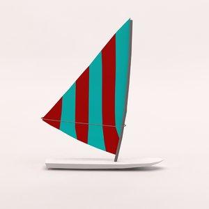 3d model cartoon board wind