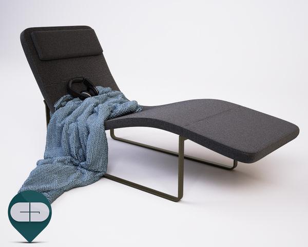 3d model chaise lounge landscape