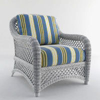 3d model white wicker chair