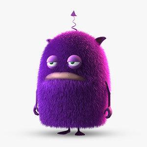 3d purple creature model