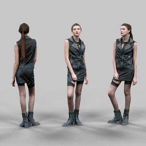 girl biker leather 3d model