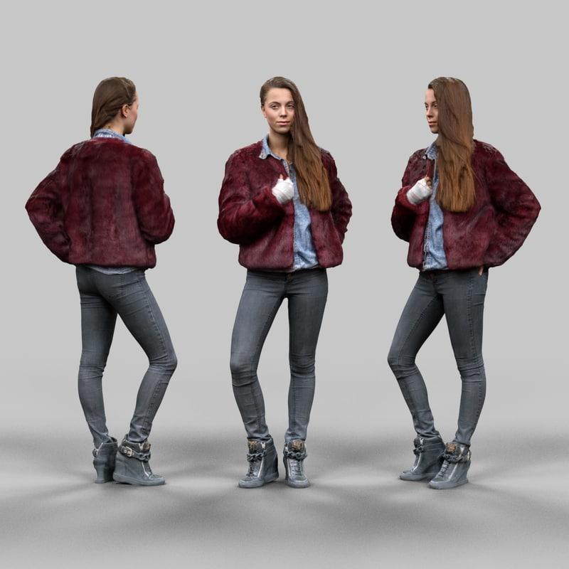 fashion girl 3d obj