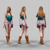 walking summer girl 3d model