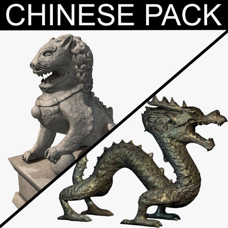 chinese lion statue pack 3d model