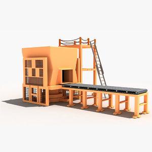 3d cartoon block machine model