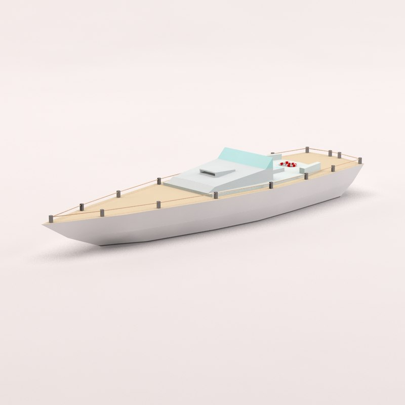 3d cartoon powerboat