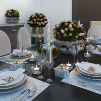 Christmas decor and table setting