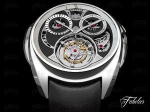 akrivia tourbillon monopusher chronograph 3d model