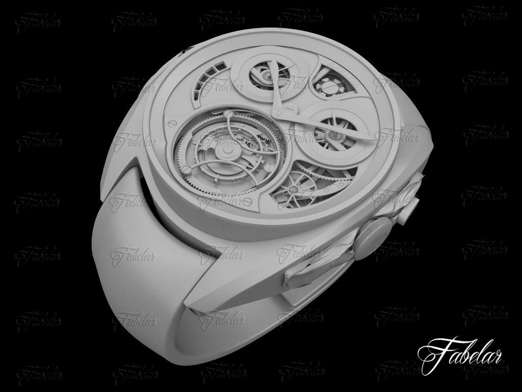 3d tourbillon watch wristwatch model