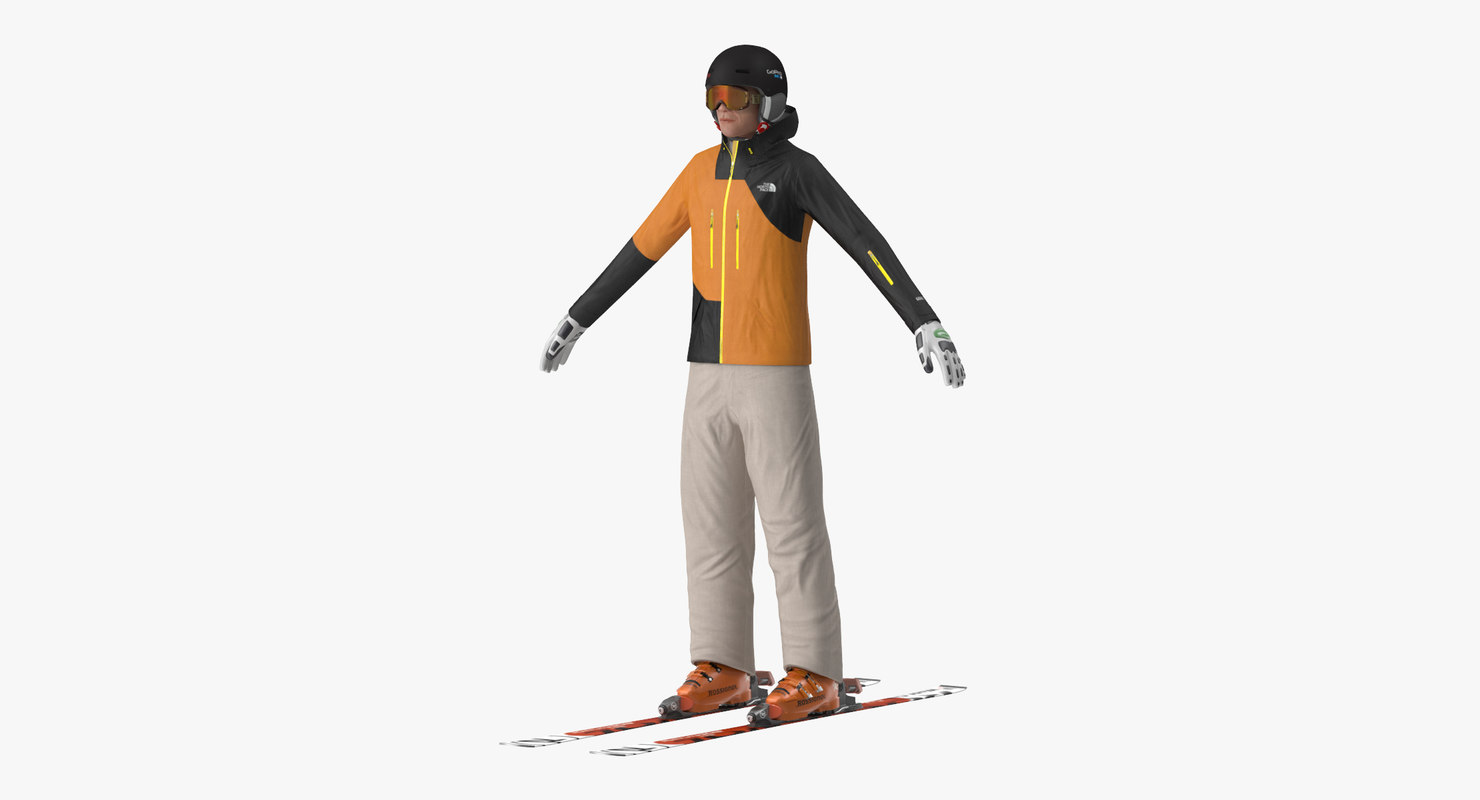 freestyle skiing player 3d max
