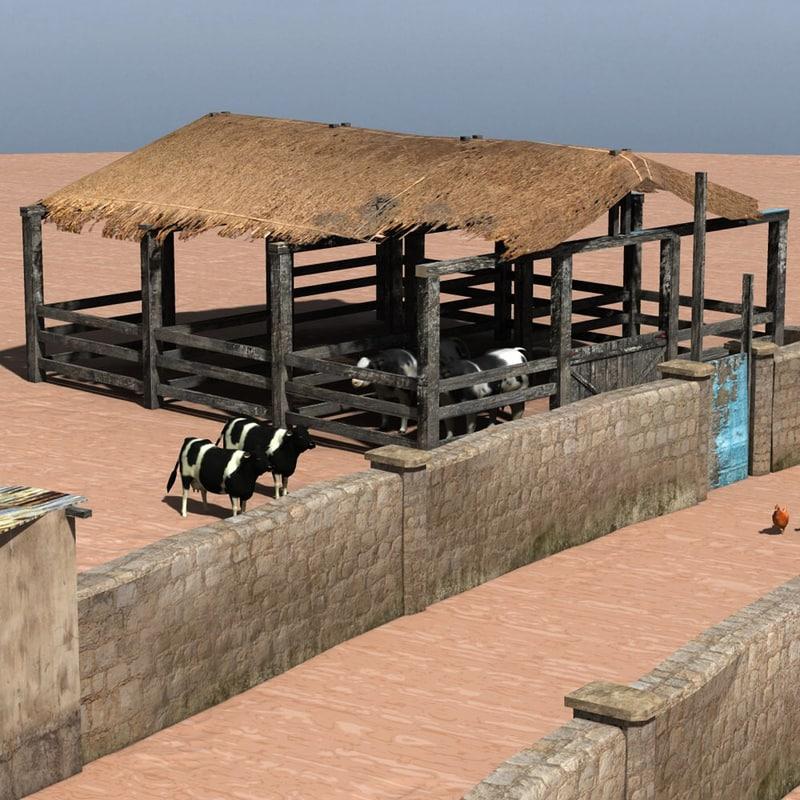 3d set buildings shanty town