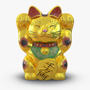 3d model of maneki neko golden
