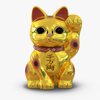 3d maneki neko 2 golden