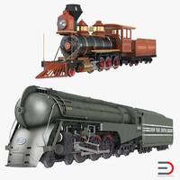 steam trains 3d c4d