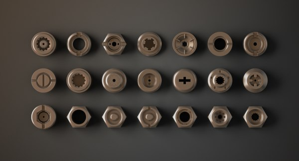 3d futuristic bolts nuts model